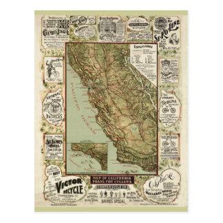 Vintage 1895 California Bicycle Cycling Map Postcard