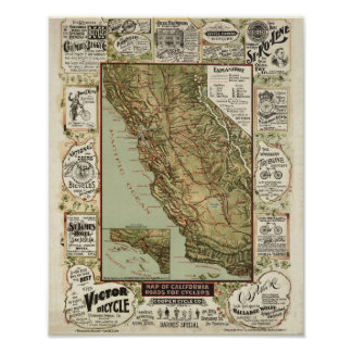 Vintage 1895 California Bicycle Cycling Map Print