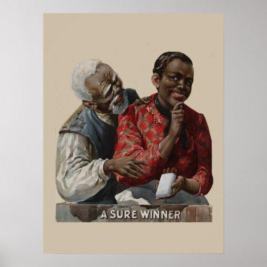 Vintage 1895 Cigar Ad Label African American Poster