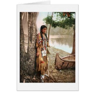 Vintage 1897 de Hiawatha del nativo americano de Tarjeta De Felicitación