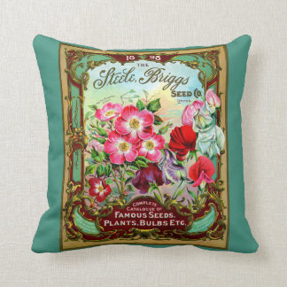 Vintage 1898 Cabbage Rose Seed Catalogue Throw Pillow