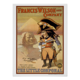 Vintage 1898 The little corporal comic opera Poster