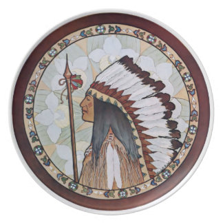 Vintage 1900 Arts and Crafts Design Indian Head Plate