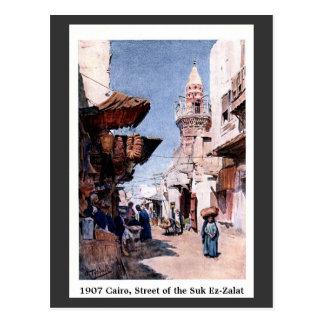 Vintage 1900 Cairo Egypt Zuk Ez-Zalat Street Postcard