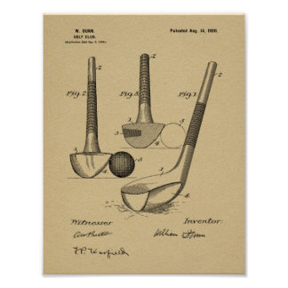 Vintage 1900 Golf Club Design Patent Art Print
