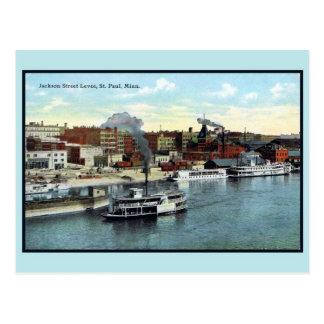 Vintage 1900 Jackson Street Levee, St. Paul MN Postcard