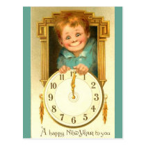 Vintage 1900 New Year Cute Boy & Gold Clock Image Postcard