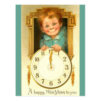 Vintage 1900 New Year Cute Boy & Gold Clock Image Postcard