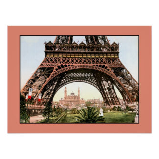 Vintage 1900 photo Eiffel Tower and Trocadero Poster