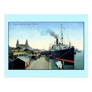 Vintage 1900s-1920s Ocean Liner, Liverpool Postcard