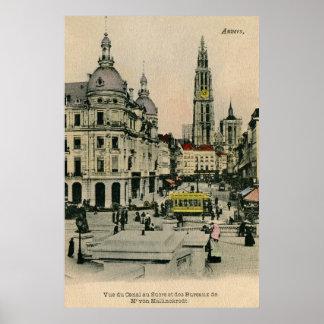 Vintage 1900s Antwerp Belgium Suikerrui, cathedral Poster