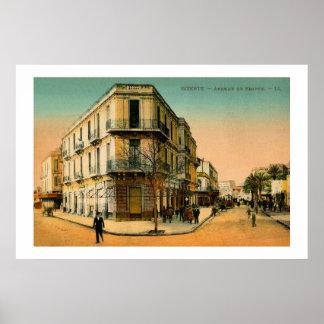 Vintage 1900s Bizerte Avenue de France Poster