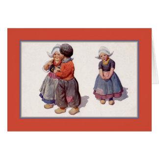 Vintage 1900s Dutch cute small children Card