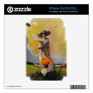 Vintage 1900s Illustration: By The Sea Decals For The iPhone 3GS