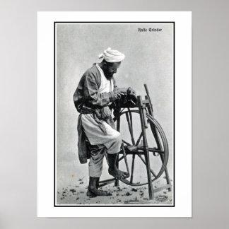 Vintage 1900s India, knife grinder Poster
