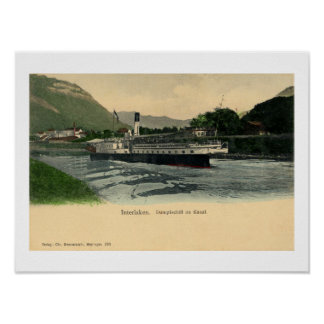 Vintage 1900s Interlaken Steamboat on the canal Posters