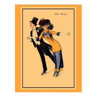 Vintage 1900s roller skating, restored illustrated postcard