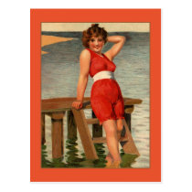 Vintage 1900s very early pin-up girl postcard