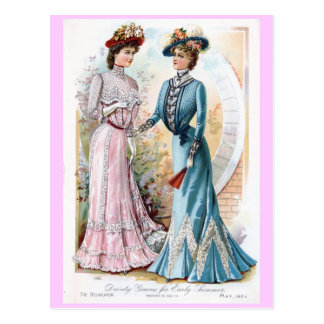 Vintage 1901 Early Summer Dresses Postcard