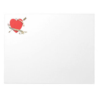 Vintage 1901 Valentine Heartwith Ribbon and Arrow Notepad