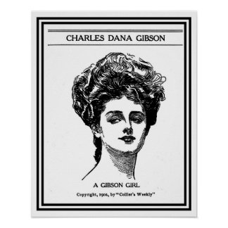Vintage 1902 restored Gibson girl drawing Poster