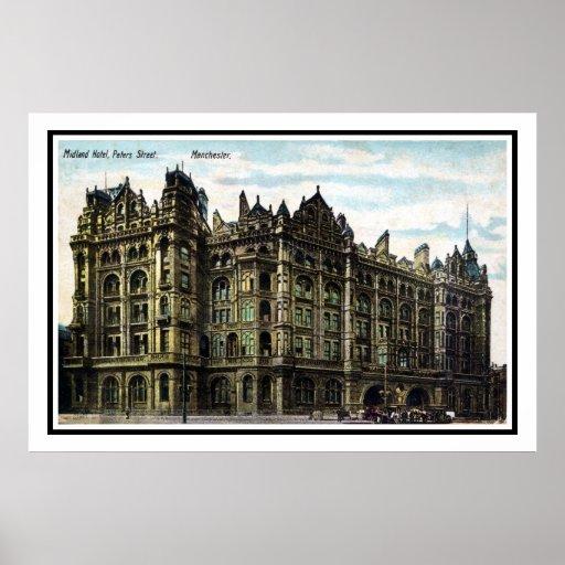 Vintage 1903 Edwardian Midland Hotel Manchester Print