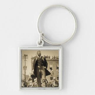 Vintage 1905 de la tarjeta de Teddy Roosevelt Ster Llavero Cuadrado Plateado