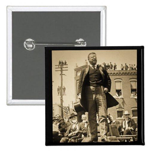 Vintage 1905 de la tarjeta de Teddy Roosevelt Ster Pin Cuadrada 5 Cm