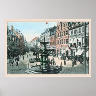 vintage 1905 del Ca Copenhague Amagertorv Póster