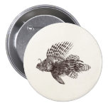 Vintage 1905 Lionfish Scorpionfish Retro Lion Fish 3 Inch Round Button