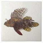 Vintage 1905 Lionfish Scorpionfish Retro Lion Fish Large Square Tile