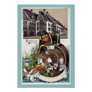 Vintage 1905 Litho Hofbrauhaus Munich Print