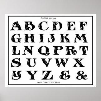 vintage 1906 Alphabet Rustic Roman font Poster