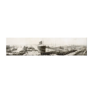 Vintage 1907 de New York City del Lusitania del Impresión En Lona Estirada