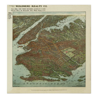 Vintage 1908 Brooklyn NY Bird's Eye View Map Print