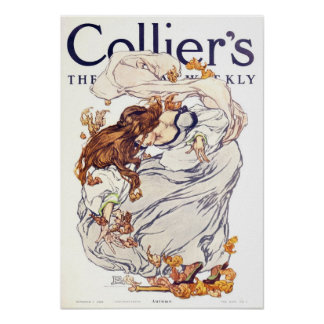 Vintage 1908 Collier's Magazine Poster, Autumn Poster