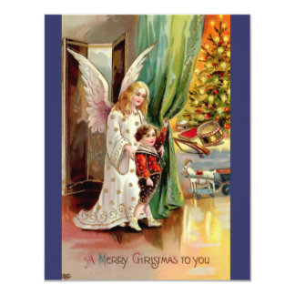 "Vintage 1908 Greeting Card-Angel, Child, Toys 4.25"" X 5.5"" Invitation Card"