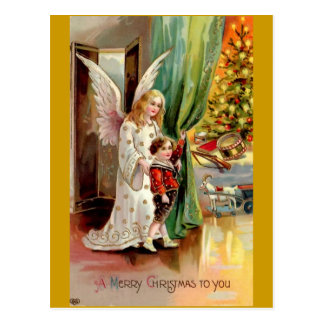 Vintage 1908 Greeting Card-Angel, Child, Toys Postcard