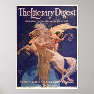 Vintage 1908 Literary Digest Poster, Pegasus Poster