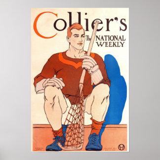Vintage 1909 Collier s Magazine Poster LaCrosse