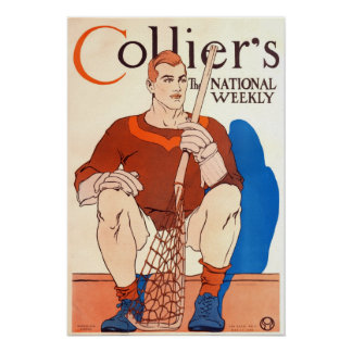 Vintage 1909 Collier's Magazine Poster, LaCrosse Poster