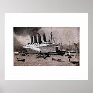 Vintage 1909 RMS Mauretania photo gravure Poster