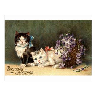 Vintage 1910 de Repro de los saludos del cumpleaño Tarjeta Postal