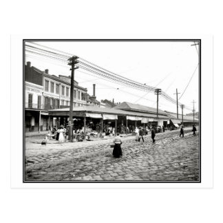 Vintage 1910 French market New Orleans photo Postcard