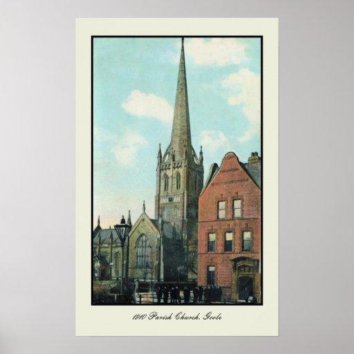 Vintage 1910 Parish Church Goole Poster