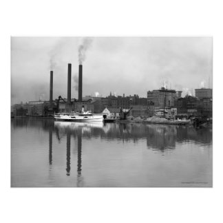VINTAGE 1910 PHOTO of Toledo, OH Waterfront