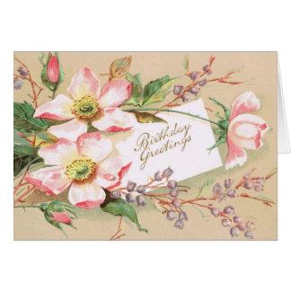 Vintage 1910 Pink Roses Birthday Greeting Card