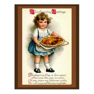 Vintage 1910, saludos de la acción de gracias tarjeta postal