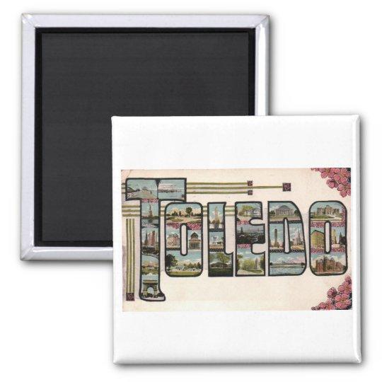 Vintage 1910 TOLEDO, OH Large Letter Design 2 Inch Square Magnet