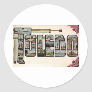 Vintage 1910 TOLEDO, OH Large Letter Design Classic Round Sticker